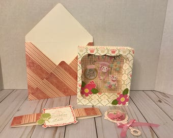 New Baby Girl Congratulations Card, Envelope,Belly Band, & Shaker Baby Rattle