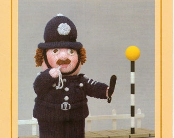 """PDF Woolly Wotnots Knitting Pattern – The Policeman by Anne Carol Creations.  No. 029 (12"""" high figure)"""