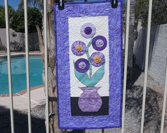 Quilted Wall Hanging, flowers, purple, lavender.