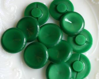 Set of Vintage Green Buttons,  Grass Green Plastic, 3/4 inch diameter