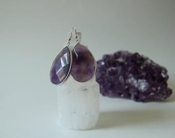 100% Natural Amethyst Stone Earrings Handmade