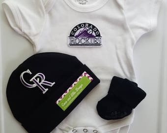 Colorado rockies outfit with hat/rockies outfit for newborn/colorado rockies baby gift/rockies take home outfit/baby colorado rockies outfit