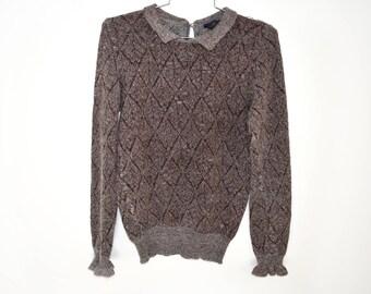 Vintage Lambswool/ Angora / Metallic Sweater Pulloever Queen Of Saba