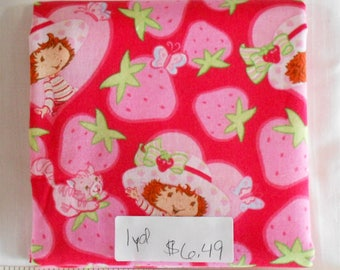Fabric - 1yd piece-Strawberry Shortcake circa 2003/strawberries/Custard-kitty cat/butterfly/red/pink/hearts/red background (#1089)