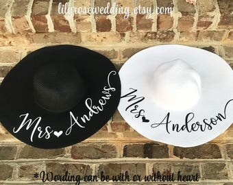 Bride Gift, Personalized Beach Hat, Just Married Hat, Floppy Beach Hat, Monogram Hat, Custom Mrs Hat, Honeymoon Hat, Bridesmaid Hat