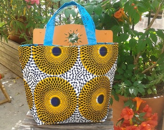 Tote bag in wax from Burkina faso and recycled rice sack