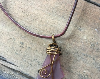 Wire Wrapped Sea Glass Pendant on Leather Cord