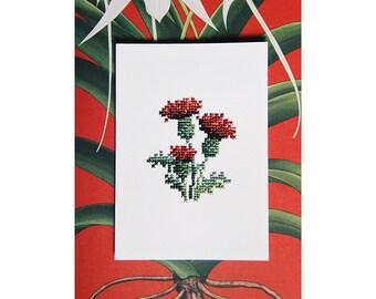 Unique piece - card hand embroidered - Herbarium series - Thistle - cross - stitch June B. Kitsch - JBK