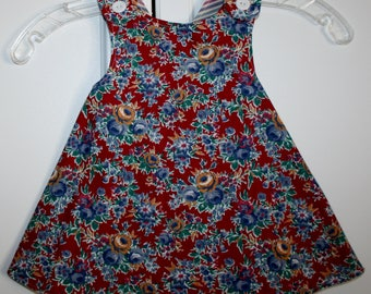 Burgandy with Blue Flower Reversible Sundress with Strips.