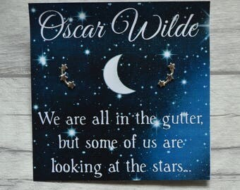Oscar Wilde Star Earrings - Sterling Silver, Star Gifts, Book Lover, Literary Gift, Book Quote