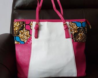 ankara/leather tote bag/shoulder bag
