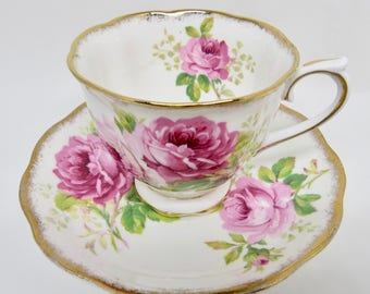 """Royal Albert """"American Beauty"""" Bone China Footed Teacup and Saucer Large Pink Roses"""