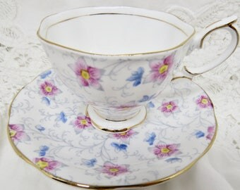 "Royal Albert Crown China ""Kendal"" Pattern 2182 Bone China Footed Teacup and Saucer 1930s Birthday/Housewarming Teacup Gift"