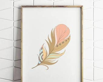 70% OFF SALE feather printable, feather wall decor, feather wall art, feather download, pink feather, pink and gold print, feather decor