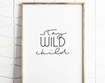 wild print, wild wall art, wild download, wild kids art, wild childrens decor, wild instant art, wild printable decor, wild child decor
