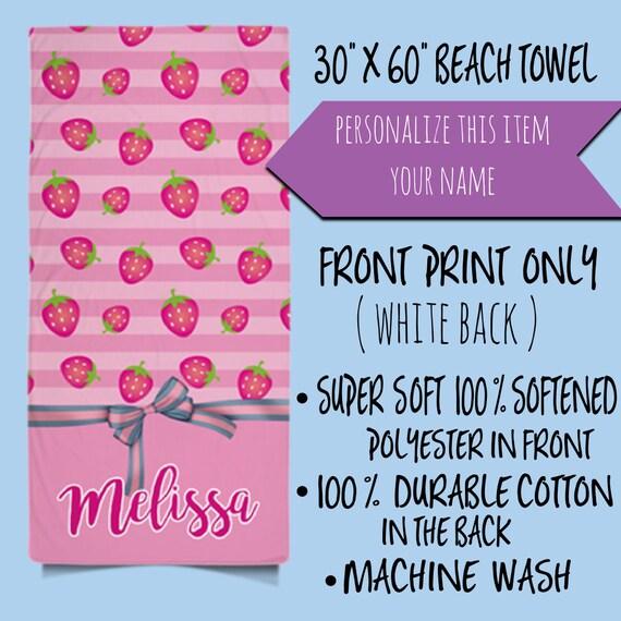 Custom Name Pink Strawberry Pattern Personalized Beach Towel  | Monogrammed Beach Towel | Personalized Towel | Monogram Pool Towel | For Her