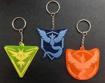 Pokémon Go Team Large Keychains - Team Mystic, Valor, or Instinct (fluorescent acrylic, laser-cut)