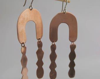 Modular copper earrings, geometric earrings, long earrings, handmade earrings, copper jewelry