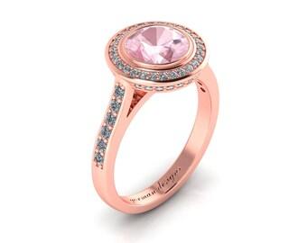 Classic Halo Modern Interpretation 14K Rose Gold 1.5 Ct Morganite Diamond Engagement Ring G1141-14KRGDMG