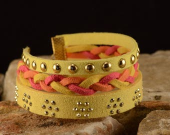 Yellow, pink and orange suede Cuff Bracelet