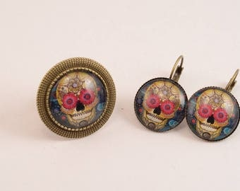 Skull skull earrings and ring set