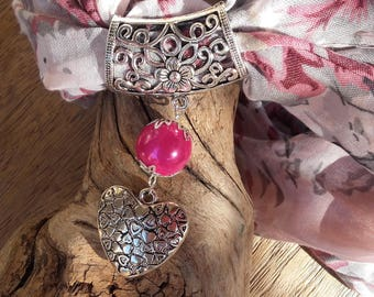 Scarf pink heart jewel