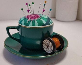 Pincushion, teacup pincushion, vintage teacup pincushion, art deco pincushion, sewing accessories, gift.