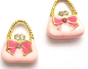 4 Enamel 15mm Pink Handbags With Rhinestone For Jewellery Making