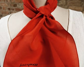 Vintage 70's red Jacqmar scarf, long style retro, bright red with Jacqmar logo