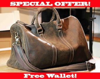 Men's Leather Duffle Bag, Travel Bag, Duffel Bag, Luggage Bag, Cabin Luggage, Gym Bag, Weekend Bag, Duffle bag, Leather Shoulder Bag,