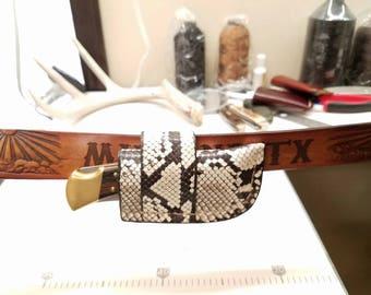 Buck 110 Folding Hunter Knife Python Snake Skin Leather Sheath- Natural Color