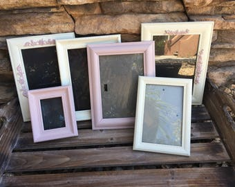 Shabby chic picture frame set, white and pink picture frame set, vintage picture frames, nursery picture frames