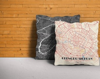 Map Throw Pillow of Chengdu Sichuan - Diner Retro - Chengdu Map Art