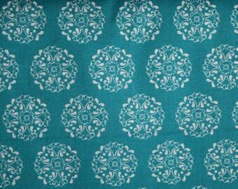 Teal Medallions Fabric- PRECUTS-100% Cotton