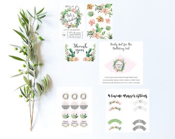 Bohemian Cactus Floral Wreath Printable Party Set | Birthday Party Decor Set | Party Hat | Invitations | Banner | Cupcake Wrappers + Toppers