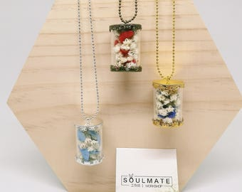 Baby's Breath Glass Cylinder Necklace
