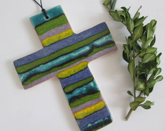 ceramic wall cross, colorful cross, ceramic devotional, handmade devotional, decorative cross, wall cross, ceramic cross handmade