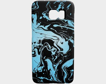 Blue and black abstract swirls - phone case - galaxy s7