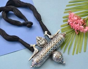 Silver Vintage Look Necklace, Tribal Necklace, Gypsy, Oxidized Necklace, Statement Necklace, Fringe Necklace, Bib necklace, Kutchi Jewelry