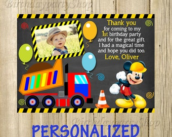 Mickey Mouse Thank You Card, Mickey Mouse Birthday Thank You Note, PERSONALIZED, Digital File