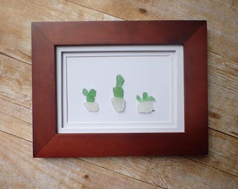 Cactus sea glass art picture / Cactus lover gift idea / Gift for gardener / Cactus decor / Sea glass picture / Cactus plant / Cacti art