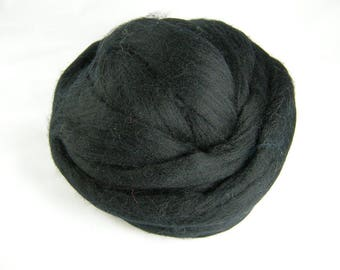 Black Merino Roving - 21.5 Micron - Next to Skin Softness - Vibrant, Rich Colour