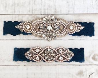 Rose gold Bridal Garter, navy garter, NO SLIP Lace Wedding Garter Set, bridal garter set, vintage something blue