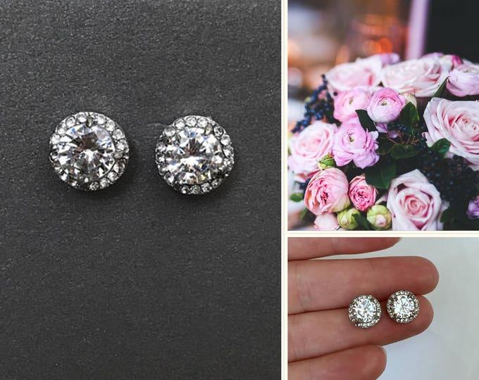 Crystal stud bridal earrings, halo earrings, brdesmaid earrings, bridesmaid jewelry, wedding earrings, swarovski crystal