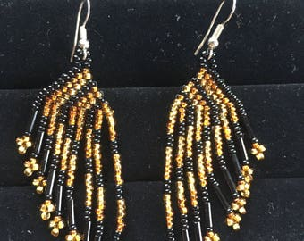 "Fabulous Native American Hand Beaded 3"" Long Earrings Black Gold"