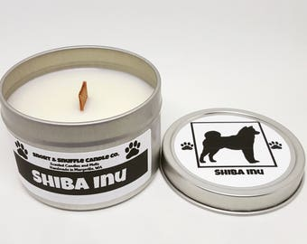 Shiba Inu- 4OZ- Scented Candle- Choose Your Scent- Wood Wick Candle- Dog Gift- Shiba- Shibe- Shiba Owner- Custom Candle- Dog Owners Gift
