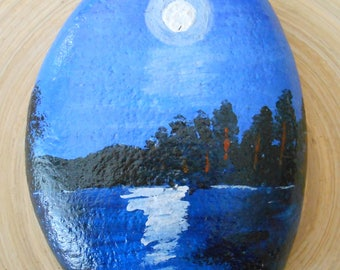 Hand Painted Stones,Home Decor,Painted Rock, Pebble,Acrylic moonlight