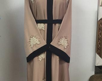 Lace and stone black trim kimono abaya