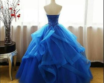 Blue wedding dress