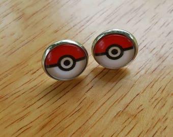 Pokeball earrings, pokeball studs, Pokemon earrings, red pokeball earrings, Pokemon trainer earrings, cosplay jewelry, anime jewelry, gift